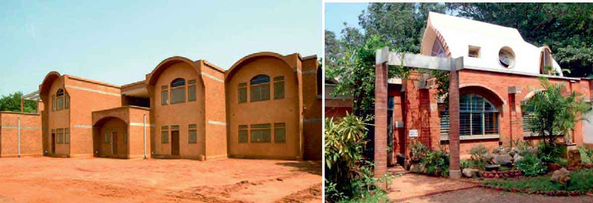 Buildings made from compressed earth blocks (CEB) (Auroville's Case study).