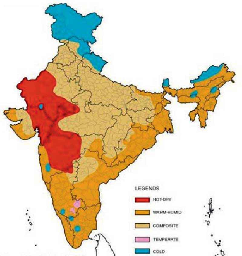 Classification of climate zones in India (NBC 2016)