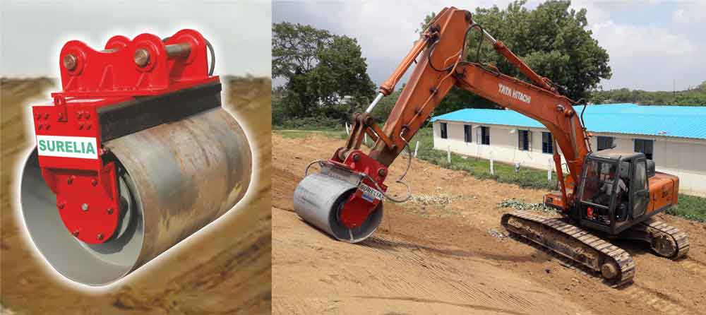 Surelia's Innovative Vibratory Compactor Drum Attachment for Backhoe & Excavator