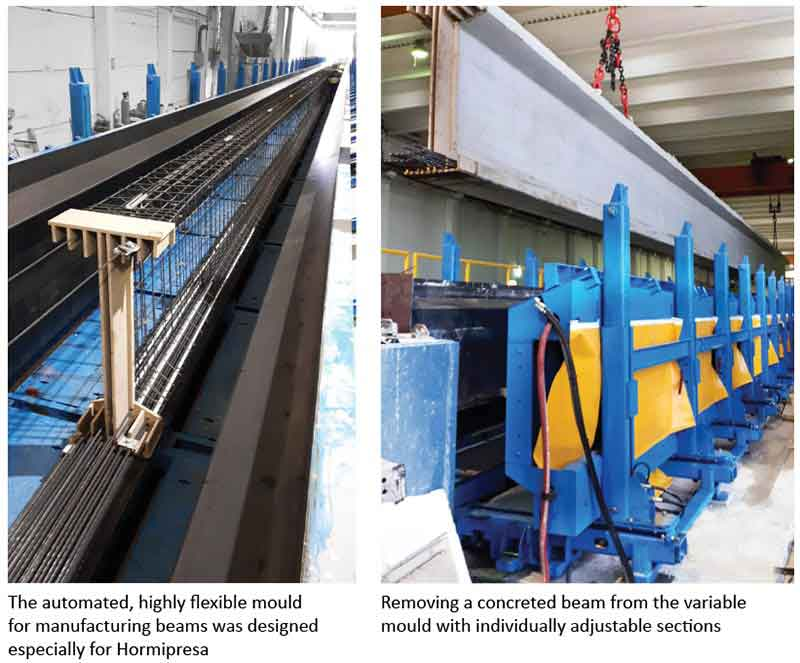 The automated, highly flexible mould for manufacturing beams was designed especially for Hormipresa