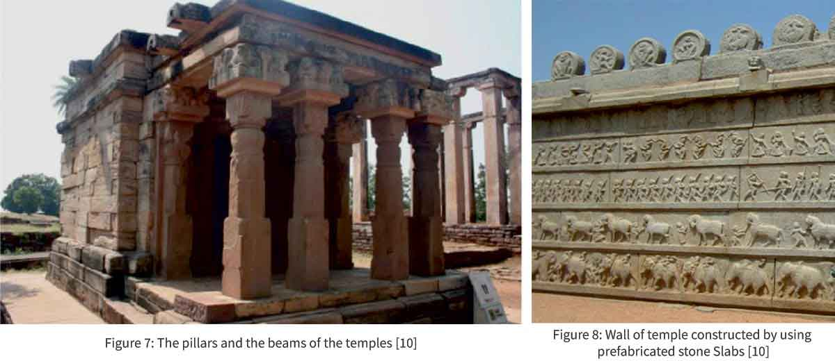 The pillars and the beams of the temples