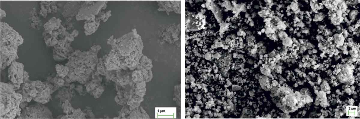 SEM of unprocessed red mud and processed red mud