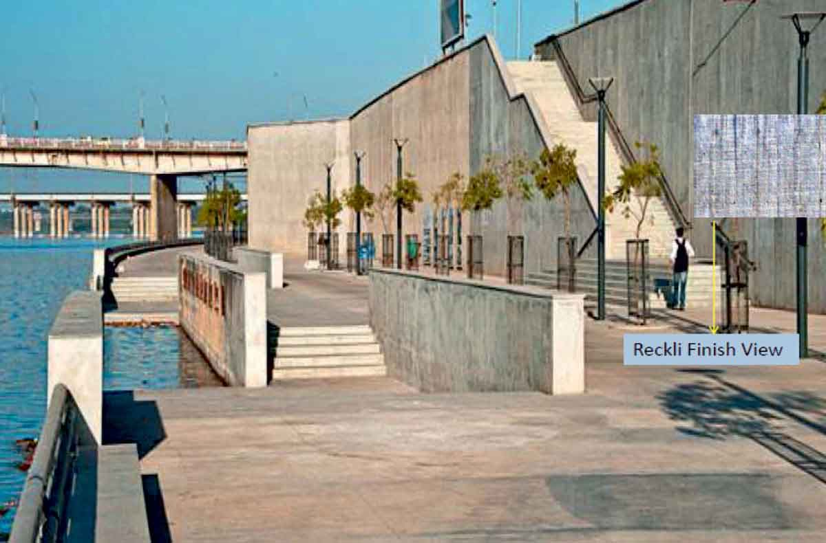 Sabarmati Riverfront with Reckli finished Retaining Wall