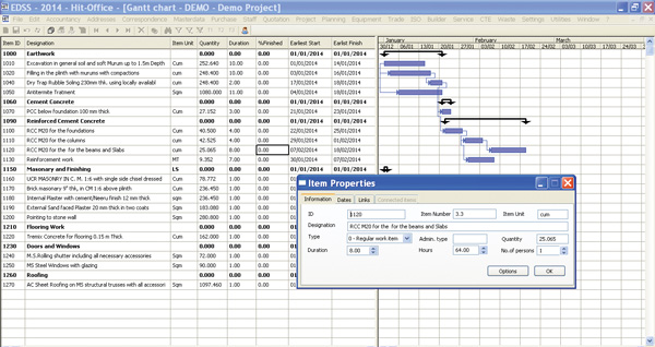 EDSS Hit Office Barchart Gantt Chart