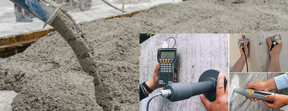Non destructive testing for determining the strength of concrete