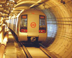 Metro Train Passing Through Tunnel