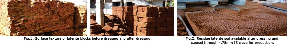 Surface texture of laterite blocks before dressing and after dressing