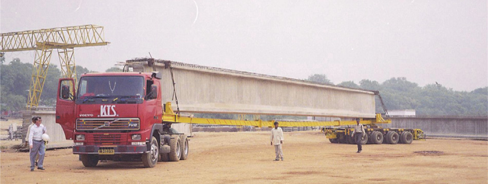 Transportation of 30m long girder