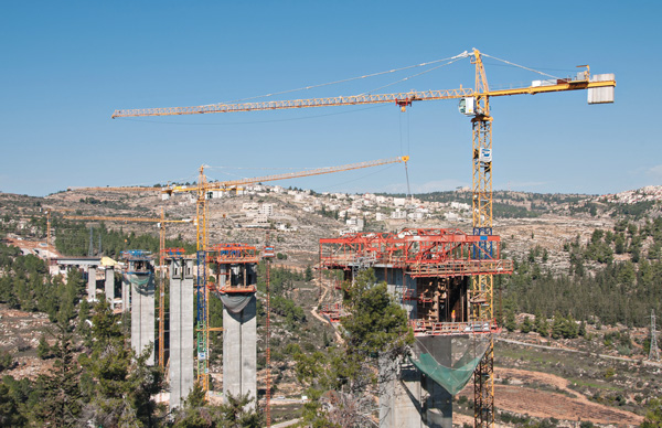 Manitowoc Potain Tower Cranes at Tallest Bridge in Israel