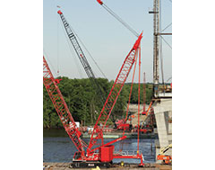 Barge-mounted MLC300 brings enhanced stability to Illinois bridge replacement