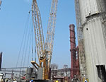 Liebherr LR 1300 crawler crane placed 8.3t at the height of 118m in India