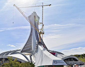 Liebherr's 630 EC-H and 710 HC-L tower cranes help expand the Montréal Olympic Stadium