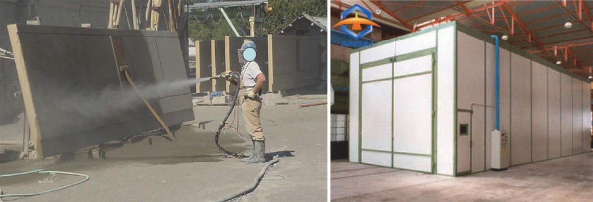 Sand blasting in open (left), sand blasting shed (right)