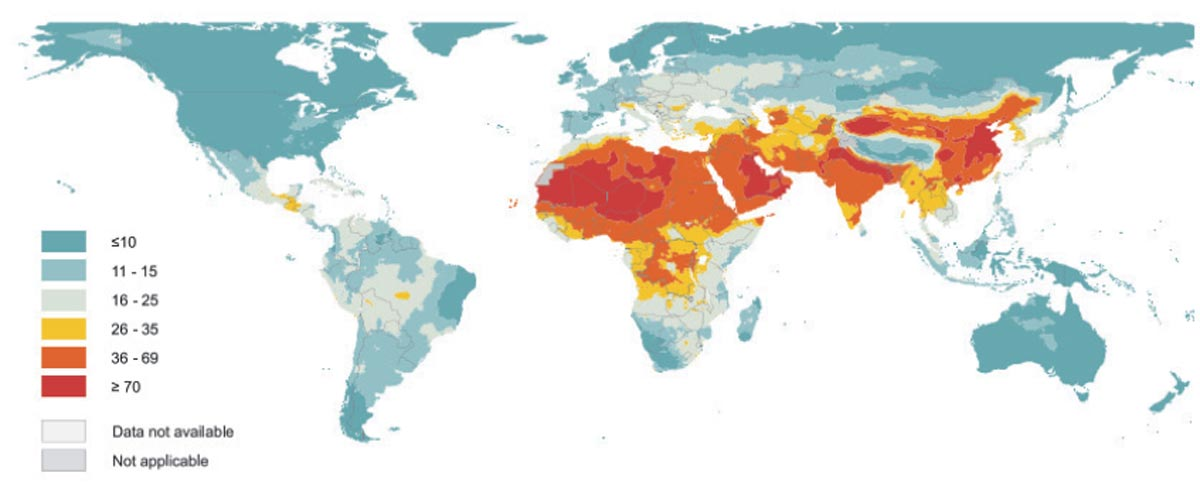 Global map of annual median concentration of PM2.5, in µg/m<sup>3</sup> (WHO Report, 2016)