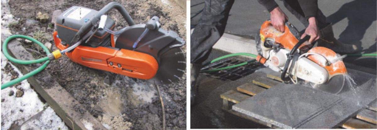 Saws fitted with inexpensive water-spray dust suppression equipment, result in a liquid slurry which is much easier to control