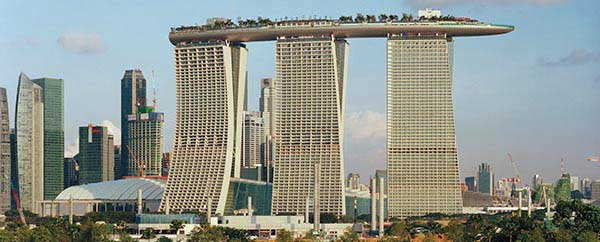 View from water of Marina Bay Sands