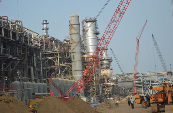Cranes at IOCL Paradip Refinery