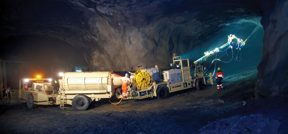 Normet's Multimec and Spraymec, versatile underground vehicles providing sprayed concrete for safe tunnels