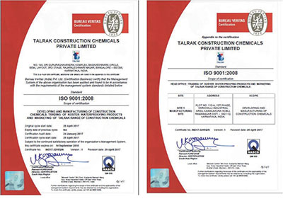 Talrak Construction Chemicals Pvt. Ltd. gets ISO 9001:2008 from BVQI